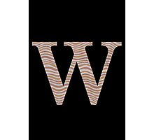 Letter W Metallic Look Stripes Silver Gold Copper Photographic Print