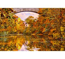 Fall at Upper Falls, Massachusetts. Echo Bridge Photographic Print