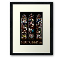 Merry Christmas - Stained Glass Window Framed Print