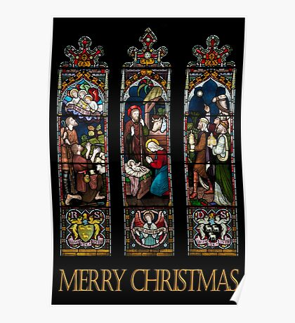 Merry Christmas - Stained Glass Window Poster
