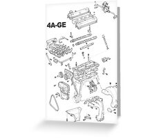 4A-GE Engine Diagram (Bright Colors) Greeting Card