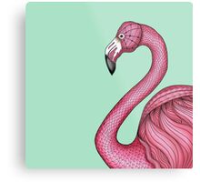 Pink Flamingo on Turquoise Background Metal Print