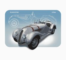 1936 Vintage BMW 328 Roadster Sticker by Martin Lomé