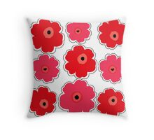 Red and Pink Poppies Throw Pillow
