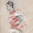 Marouane Chamakh - Arsenal player - original sketch drawing by Paulette Farrell