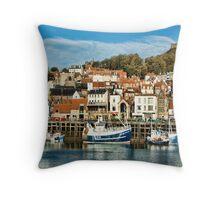 Scarborough Harbour Throw Pillow