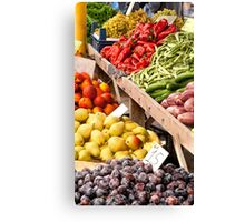 Fresh Organic Fruits and Vegetables At A Street Market Canvas Print