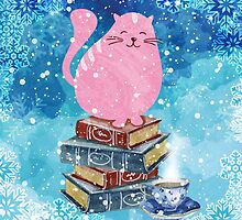 Bookish Cat in Winter by evieseo