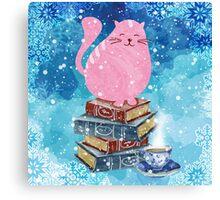 Bookish Cat in Winter Canvas Print