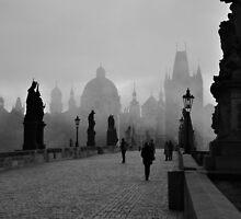 Fog on Charles Bridge, Prague by Jennifer Lyn King