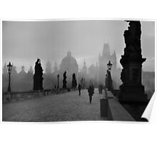 Fog on Charles Bridge, Prague Poster
