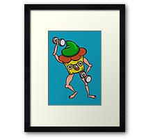 Stud Muffin Posing With Dumbbells Framed Print