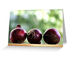 red onions ready to be chopped... Greeting Card