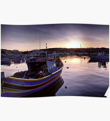 Dawn at Marsaxlokk Poster