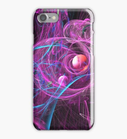 Red Ball in Pink and Blue Swirls iPhone Case/Skin