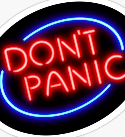 """Hitchhiker's Guide - """"Don't Panic"""" Neon Sign Sticker"""