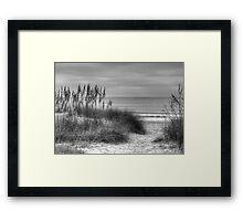 Serenity Beach In Black And White Framed Print