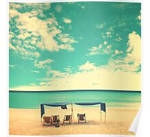 Retro beach and tent Poster