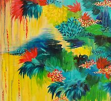 PARADISE WAITS - Beautiful Colorful Tropical Abstract Acrylic Painting Crimson Kelly Green Lagoon by EbiEmporium