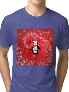 Cute happy holidays penguin red white pattern  Tri-blend T-Shirt