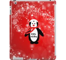 Cute happy holidays penguin red white pattern  iPad Case/Skin