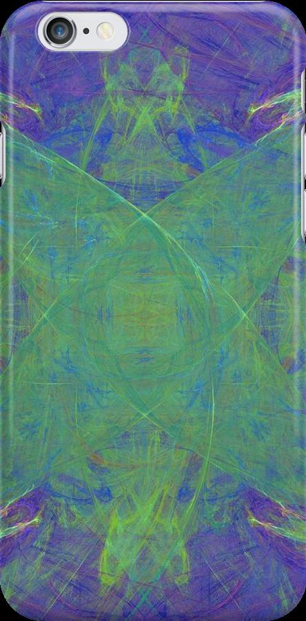 Green Starfish on Purple Abstract by pjwuebker