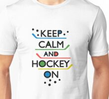 Keep Calm and Hockey On - white Unisex T-Shirt