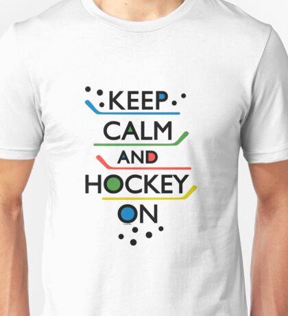 Keep Calm and Hockey On - white Unisex T-Shirt