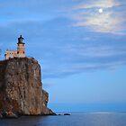 Moon Over Split Rock Lighthouse by markwestpfahl