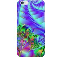 Blue Swirls With Colorful Floral Abstract iPhone Case/Skin
