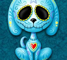 Blue Zombie Sugar Skull Puppy Dog by Jeff Bartels