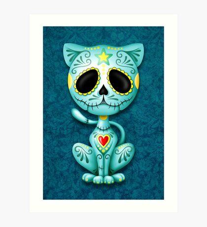 Blue Zombie Sugar Kitten Cat Art Print