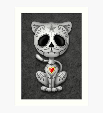 Dark Zombie Sugar Kitten Cat Art Print