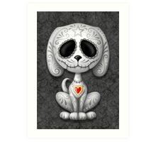 Dark Zombie Sugar Skull Puppy Dog Art Print