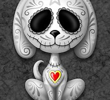 Dark Zombie Sugar Skull Puppy Dog by Jeff Bartels