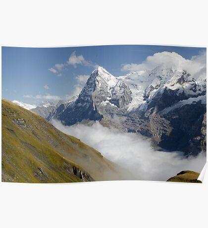 Verdant meadows below the Eiger in Switzerland Poster