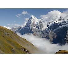 Verdant meadows below the Eiger in Switzerland Photographic Print