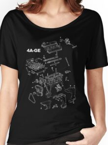 4A-GE Engine Diagram (Dark Colors) Women's Relaxed Fit T-Shirt