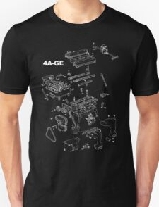 4A-GE Engine Diagram (Dark Colors) T-Shirt