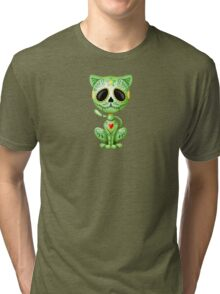 Green Zombie Sugar Kitten Cat Tri-blend T-Shirt