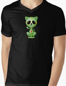 Green Zombie Sugar Kitten Cat Mens V-Neck T-Shirt