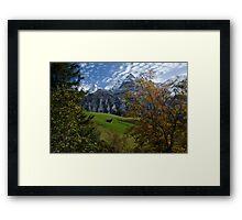 Swiss Fall Meadow below Eiger Framed Print