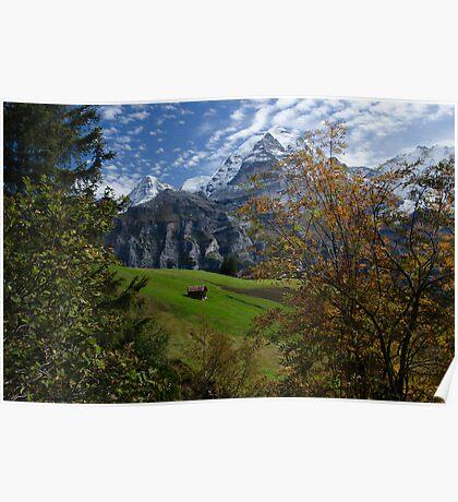 Swiss Fall Meadow below Eiger Poster