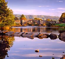Llanrwst Bridge over River Conwy, North Wales by DBigwood