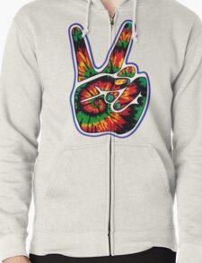 Tie-Dye Peace Sign Zipped Hoodie
