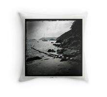 Sailboat off Chung Hom Kok beach Throw Pillow