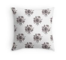 Black and White Roses Pattern Throw Pillow