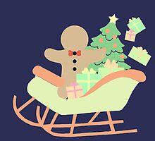 Gingerbread man in Sleigh #2 by simplepaperplan