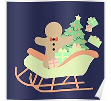 Gingerbread man in Sleigh #2 Poster