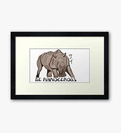 Rhino Ink and Brush Framed Print